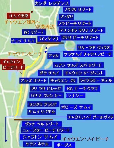 サムイ島の地図・サムイ島チャウエンビーチの地図3