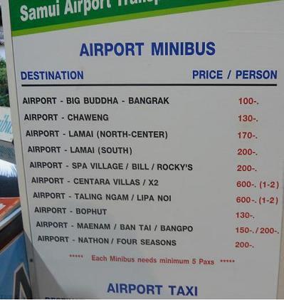 サムイ空港のシャトルバス料金