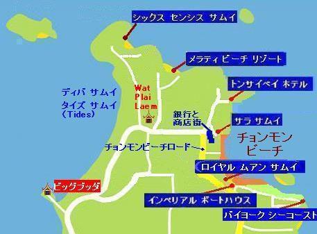 サムイ島の地図-サムイ島チョンモンビーチの地図1