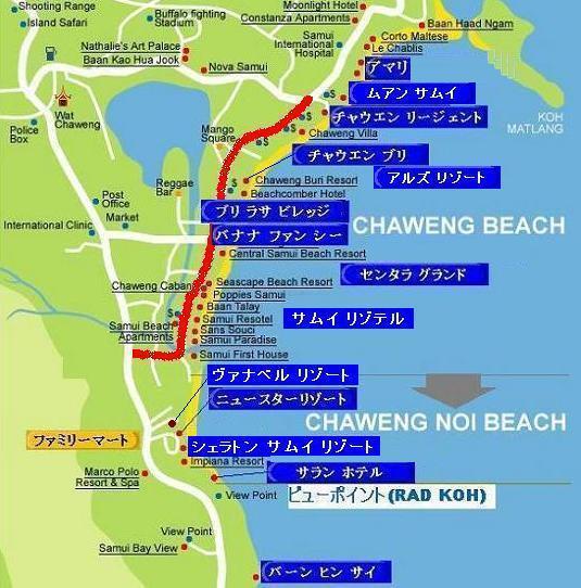 サムイ島の地図・サムイ島チャウエンビーチの地図1