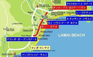 サムイ島ラマイビーチの地図
