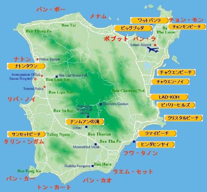 サムイ島の地図-サムイ島の全島地図