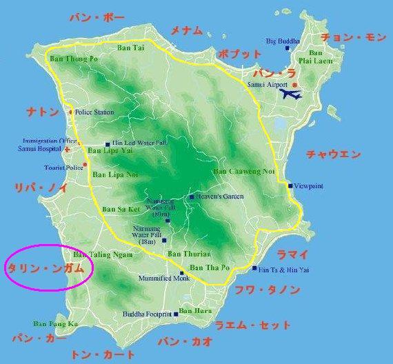 サムイ島の全体地図