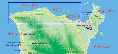 サムイ島の地図-サムイ島ボプットビーチの地図1
