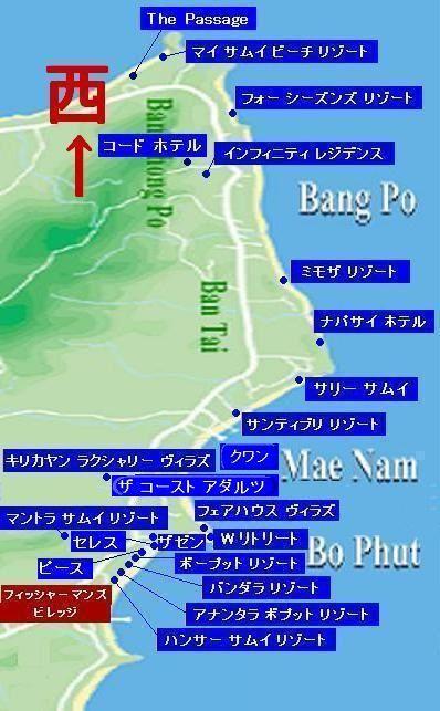 サムイ島の地図-サムイ島ボプットビーチの地図4