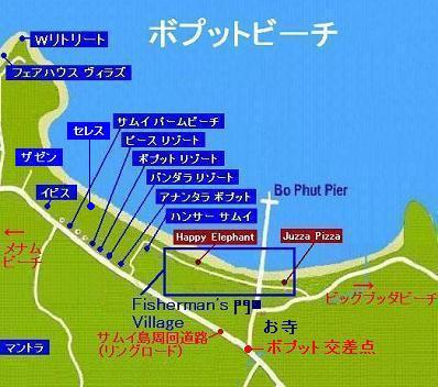 サムイ島の地図-サムイ島ボプットビーチの地図2