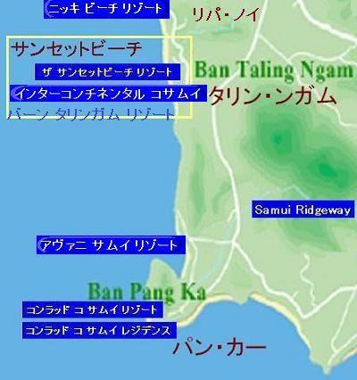 サムイ島の地図・サムイ島サンセットビーチの地図