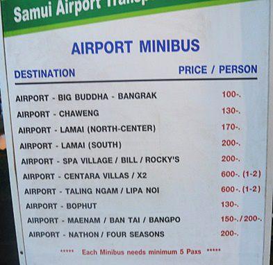 サムイ空港のシャトルバス料金2019