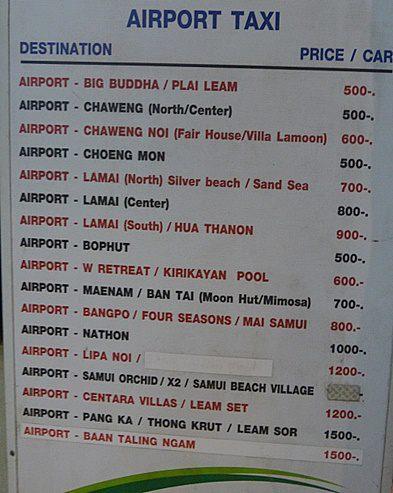 サムイ空港のタクシー料金2019