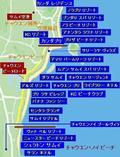 サムイ島チャウエンビーチ地図03