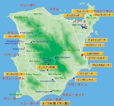 サムイ島の観光ポイントの地図
