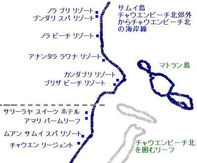 サムイ島チャウエンビーチ地図02
